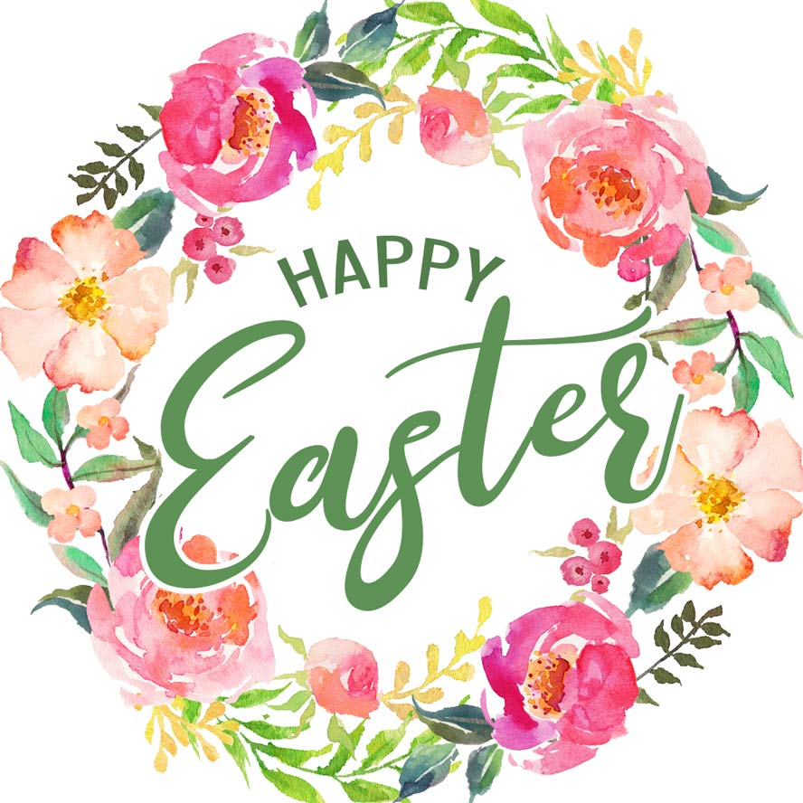 888x888 Watercolor Flowers Happy Easter Card Free Download. Card