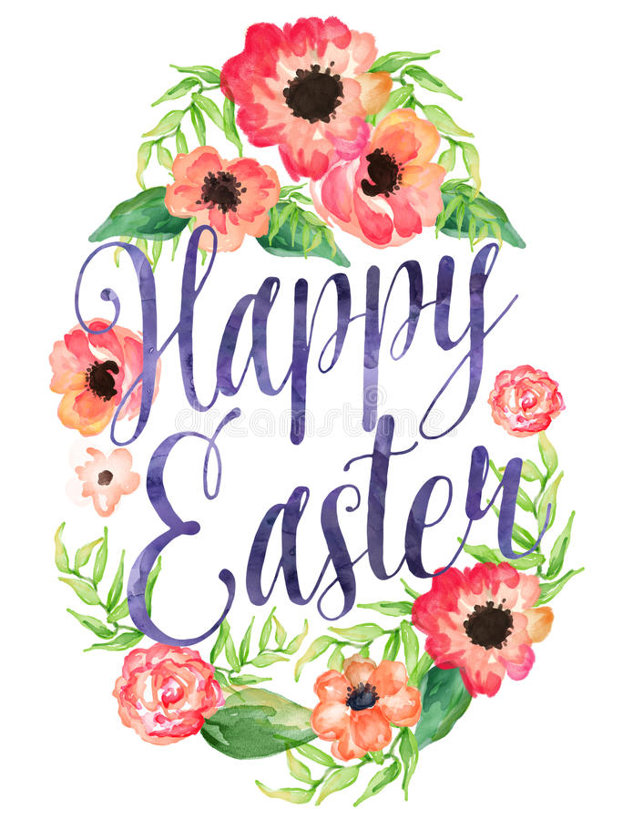 695x900 Happy Easter Watercolor Egg Flowers 49975479