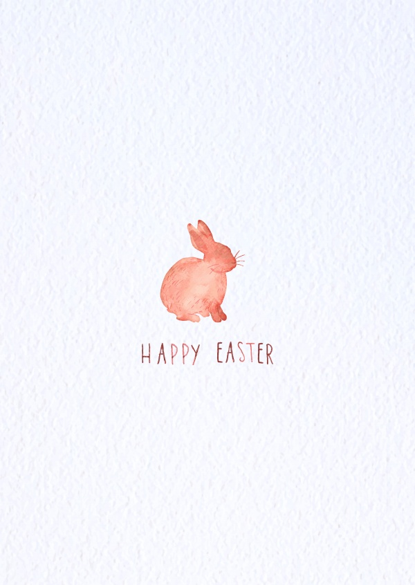 600x846 Watercolor Bunny Happy Easter Send Real Postcards Online