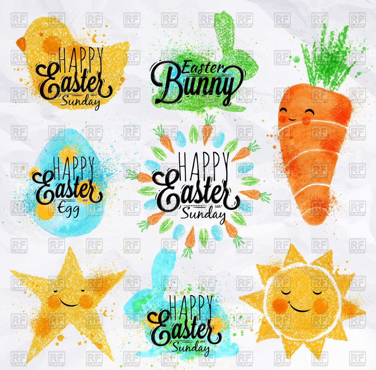 1200x1180 Happy Easter Symbols Painted By Watercolor Vector Image Vector