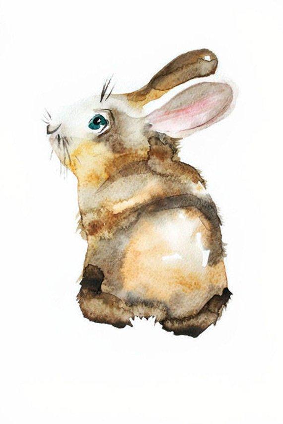 570x854 Original Watercolor Art Easter Hare Art Rabbit Art Easter Etsy