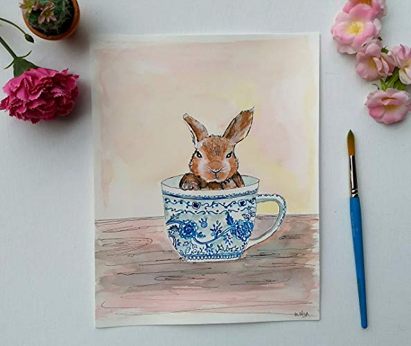 593x500 Rabbit Watercolor Art, 8.5 X 11, Easter Bunny