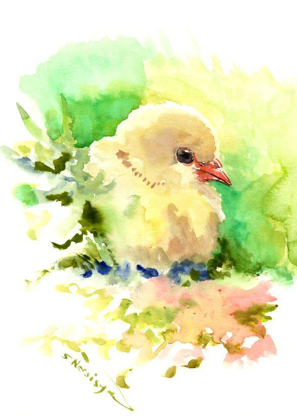 586x820 Baby Chicken Painting, 12 X 9 In, Easter Baby Shower Children Wall