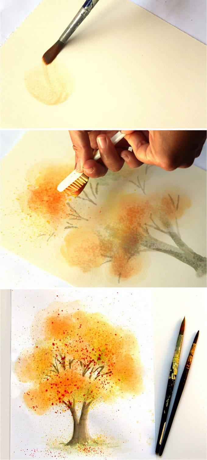 680x1512 Easy Watercolor Painting Tree (With Fall Colors!)