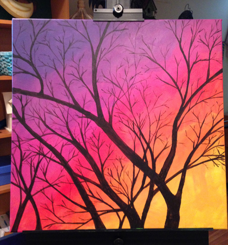 465x500 Easy Steps To Paint A Sunset Sky And A Tree In Acrylic Paints