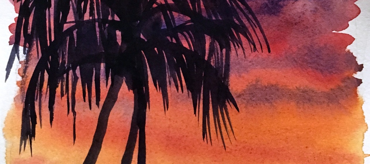 1263x560 How To Watercolor Paint A Sunset Sky With Silhouettes