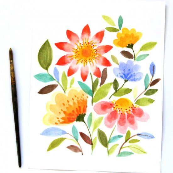 550x550 Anyone Can Paint These Beautiful Watercolor Flowers In 10 Minutes