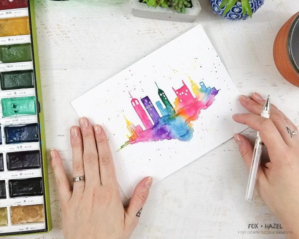 600x480 Easy Watercolor Cityscape Step By Step Tutorial Dawn Nicole