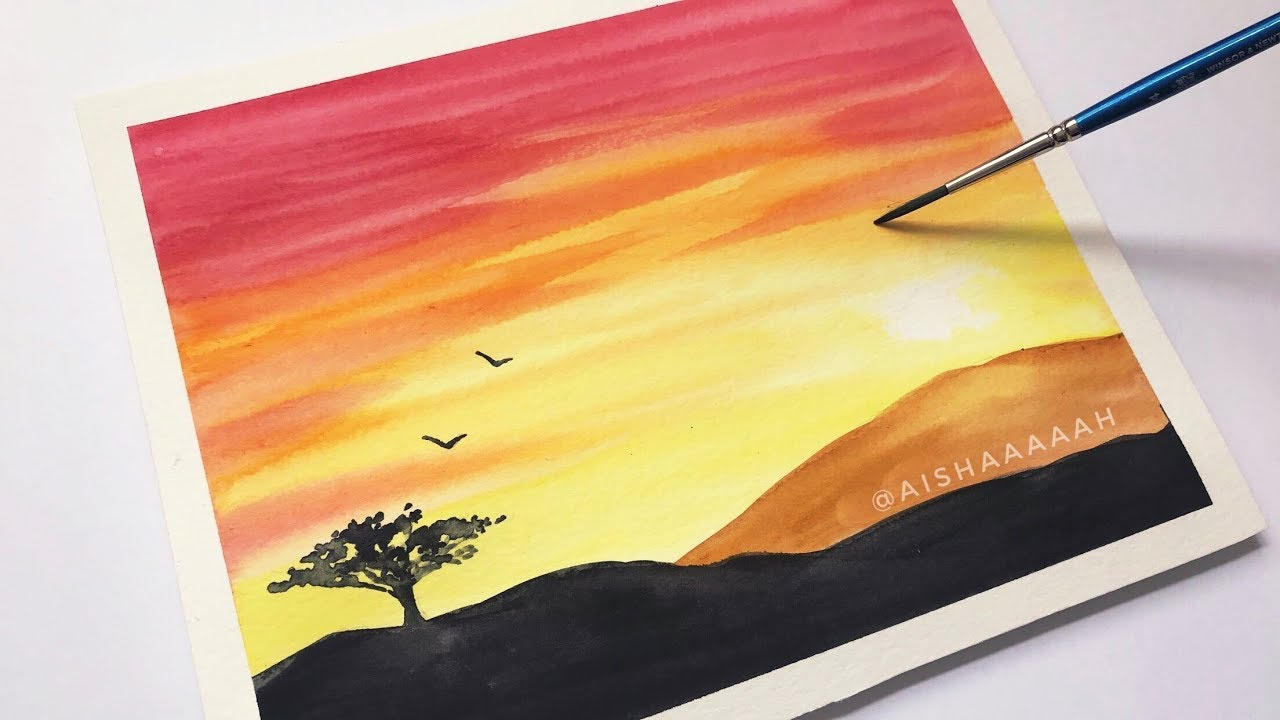 1280x720 Easy Watercolor Sunset Tutorial For Beginners Step By Step