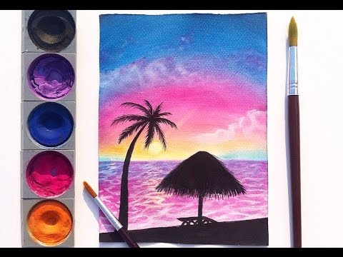 480x360 Easy Watercolor Sunset Painting
