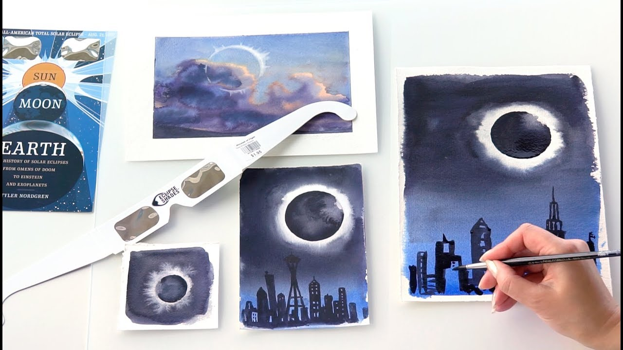 1280x720 Painting Solar Eclipse, Easy Step By Step Watercolor Tutorial