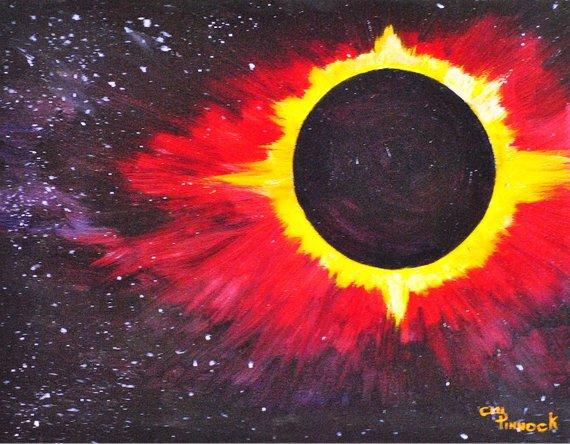570x444 Solar Eclipse 2017 Celestial Art Outer Space Planet Sun Moon Etsy