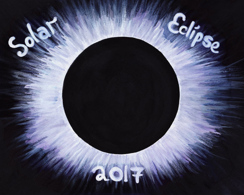 999x799 Solar Eclipse 2017 {Watercolorgouache Painting} By