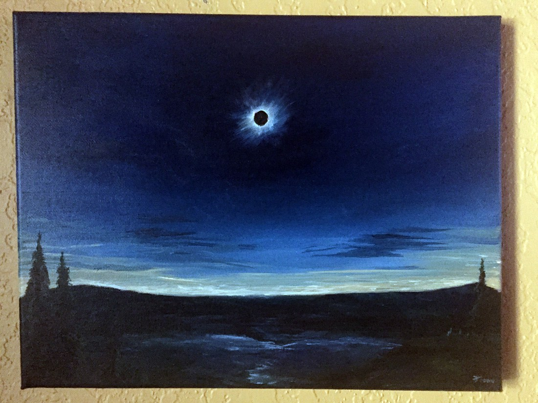 1100x825 Solar Eclipse Original Watercolor Space Art By Christopher Doll