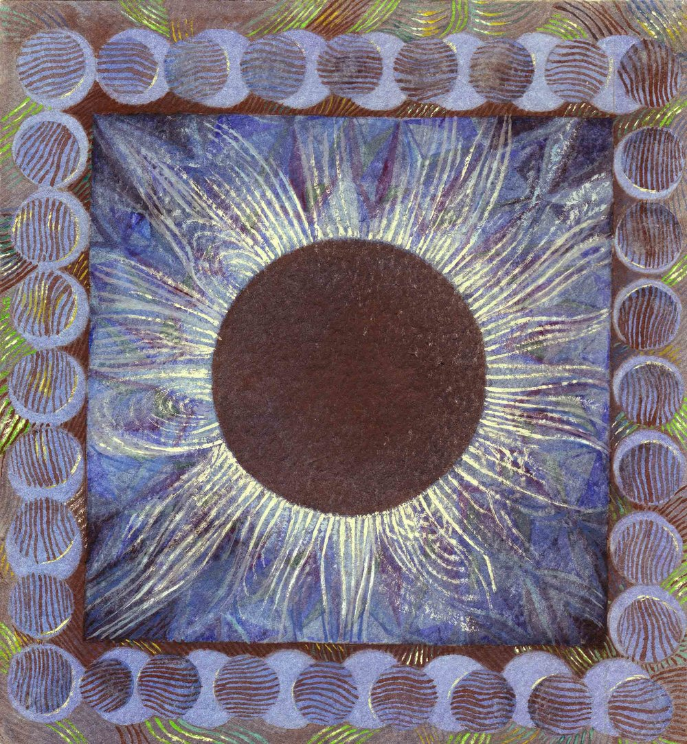 1000x1084 Solar Eclipse Watercolor Painting And Color Variations