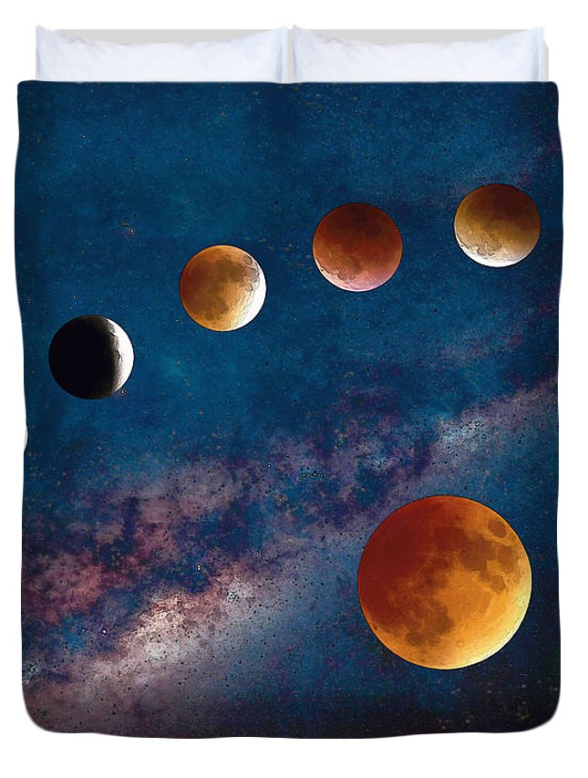 645x853 Super Blood Moon Eclipse Watercolor Duvet Cover For Sale By