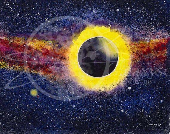 570x449 E Clipse Dot Zorg Watercolor Print. Eclipse Watercolor Fine Art