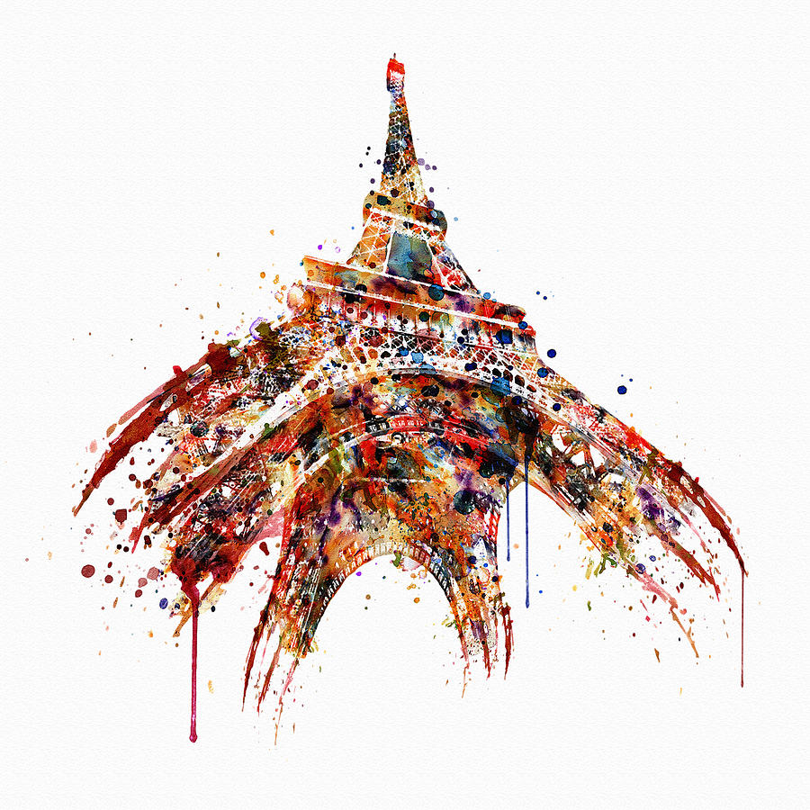 900x900 Eiffel Tower Watercolor Painting By Marian Voicu