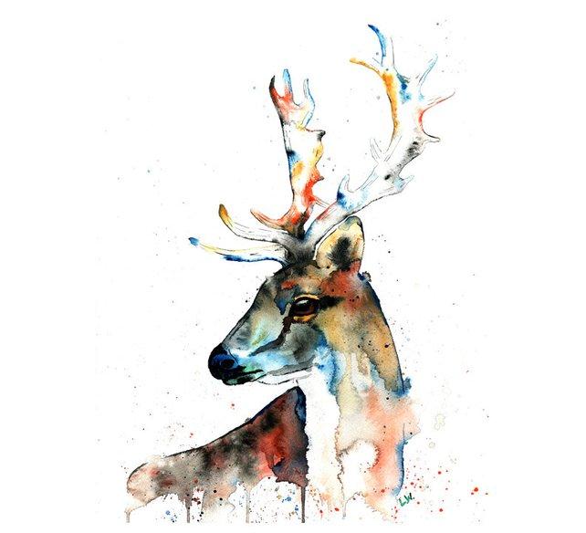 642x584 Fallow Deer Print Deer Painting Deer Watercolour Deer Etsy