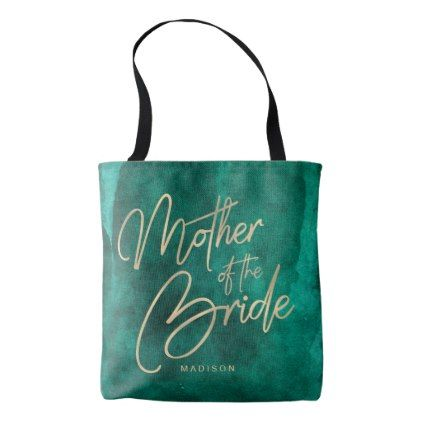 422x422 Emerald Green Watercolor Gold Mother Of The Bride Tote Bag Green