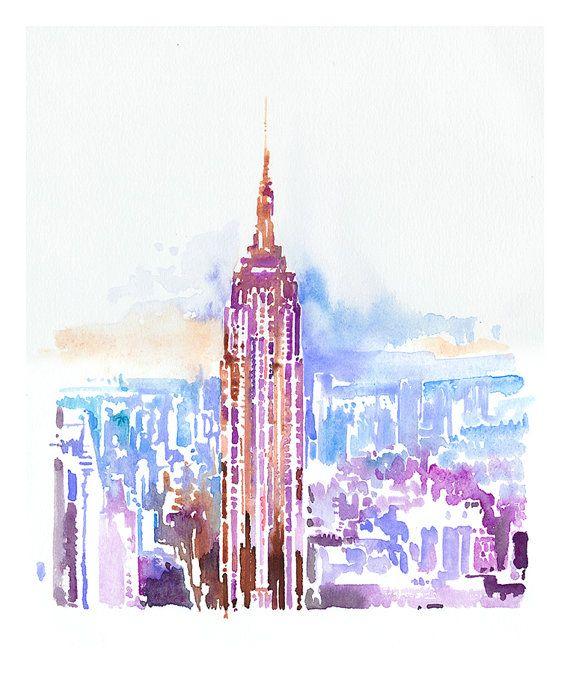 570x673 New York Skyline Print, New York Skyline Art, Empire State