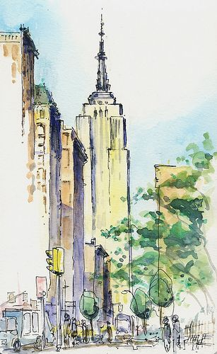 307x500 Urban Sketch New York New York, Empire State Building Urban
