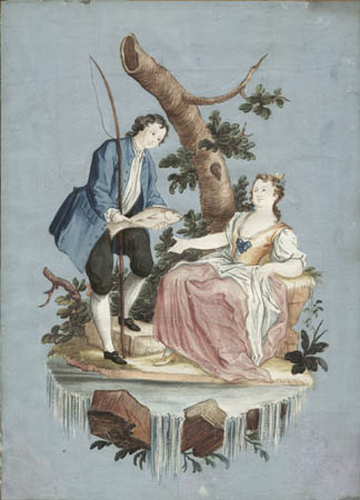 324x450 Fine Art, Fishing Couple, English Antique Watercolor, 18th Century