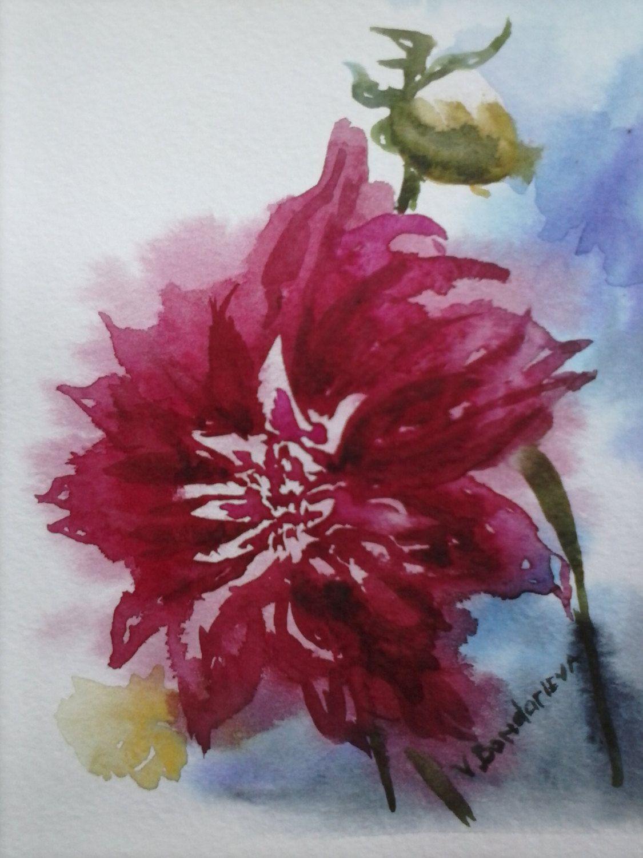 1125x1500 Watercolor Dahlia Original Paintings Watercolor Flowers Original
