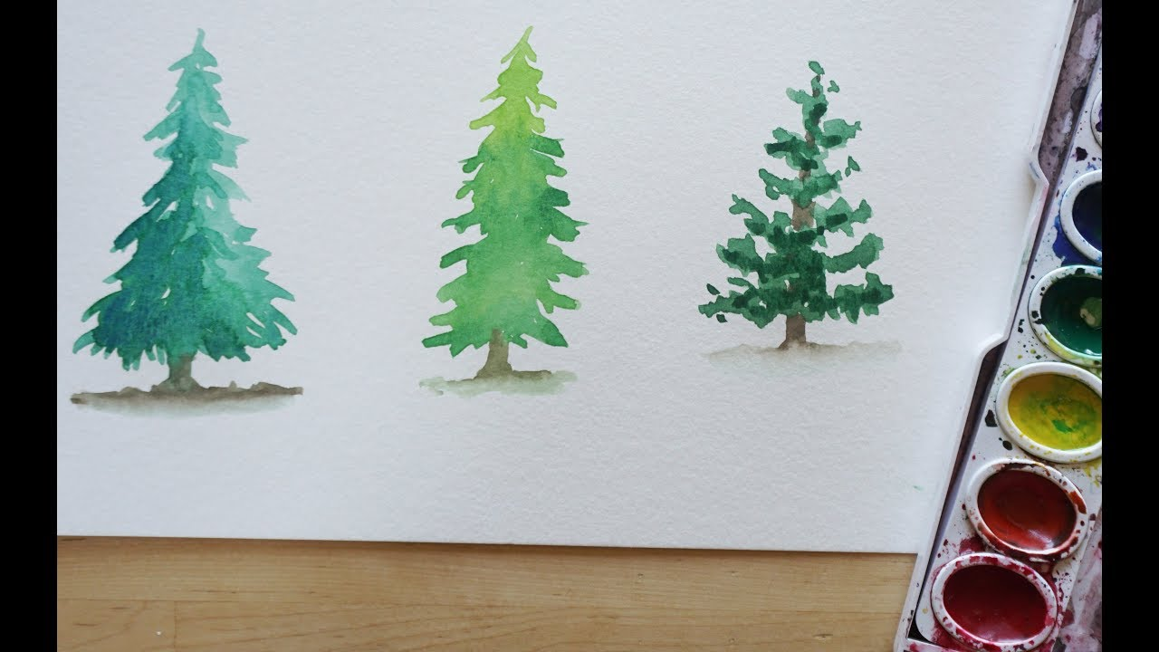 Evergreen Tree Watercolor