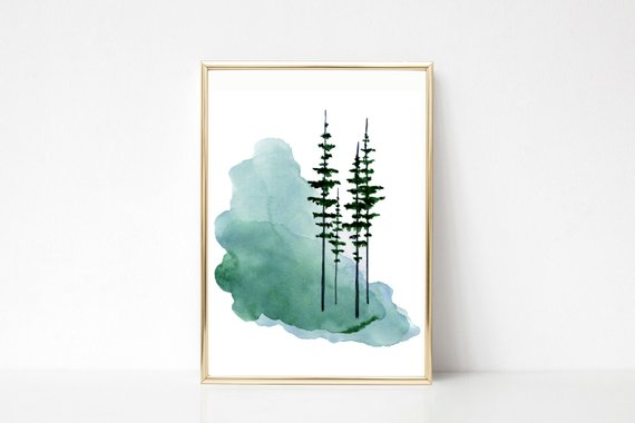 570x380 Pine Tree Print Evergreen Trees Watercolor Misty Foggy Forest Etsy