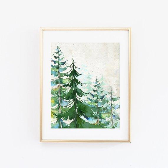 570x570 Watercolor Evergreen Trees 8x10 Printable Art Print Nursery