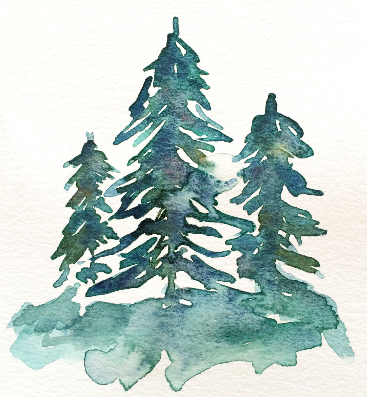 750x811 Watercolor Trees Part 4