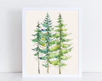 340x270 Cabin Art Trees Etsy