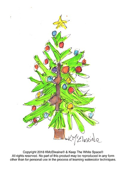 400x589 Christmas Tree Watercolor Pattern Kathleen Mcelwaine Art