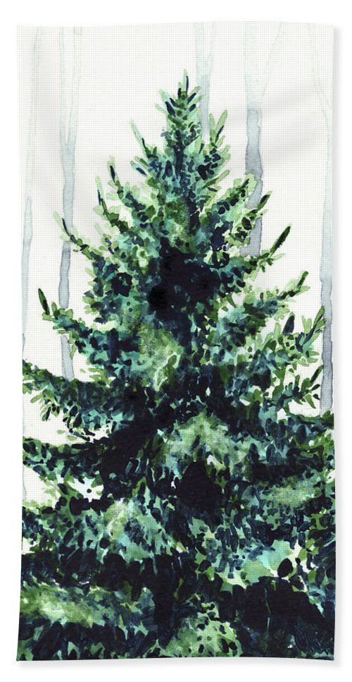 500x967 Evergreen Tree In Winter Woods Watercolor Painting Christmas
