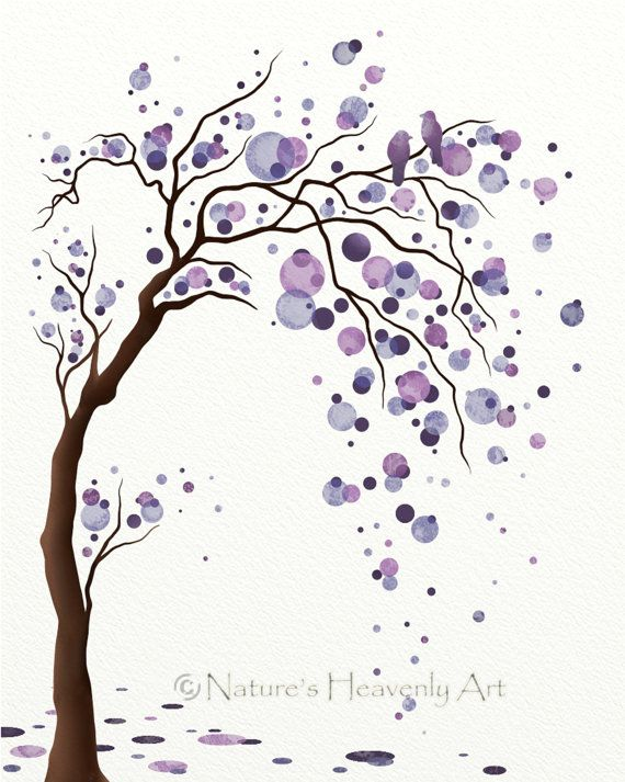 570x713 Purple Wall Art Tree Print, Tree Wall Decor For Bedroom, Living