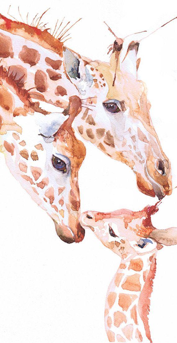 570x1103 Giraffe Original Watercolor, Ooak Painting, Original Artwork