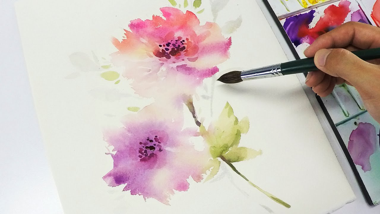1280x720 Lvl3] Watercolor Flower Painting Wet Into Wet