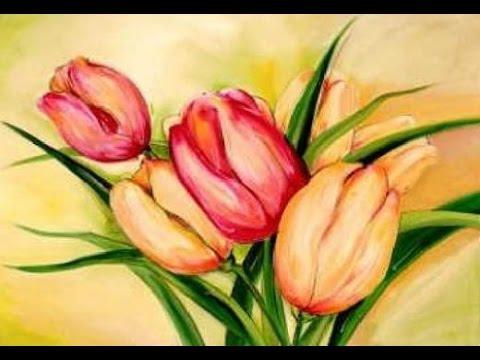 480x360 Tulip Flower Paintings On Canvas