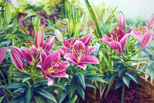 500x334 Watercolor Flower Painting Fine Art Morning Of Lilies Handmade