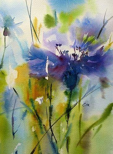 366x500 Cornflower Watercolor, Watercolor Art And Paintings