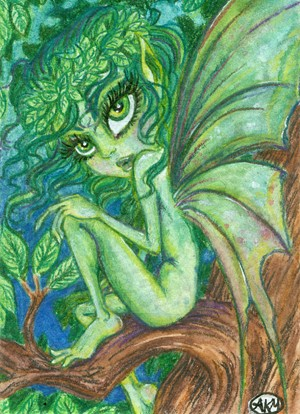 300x414 Fairy Aceo Art Fantasy Art Watercolor Painting Original Faery