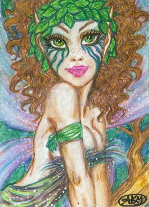 300x417 Fairy Aceo Fantasy Faery Art Watercolor Painting Original Faerydae