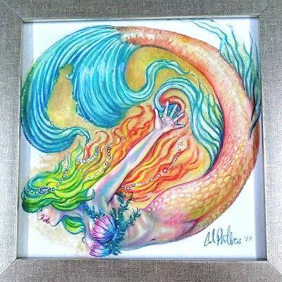 400x400 Original Watercolor Fantasy Art Mermaid Nautical Ocean Painting