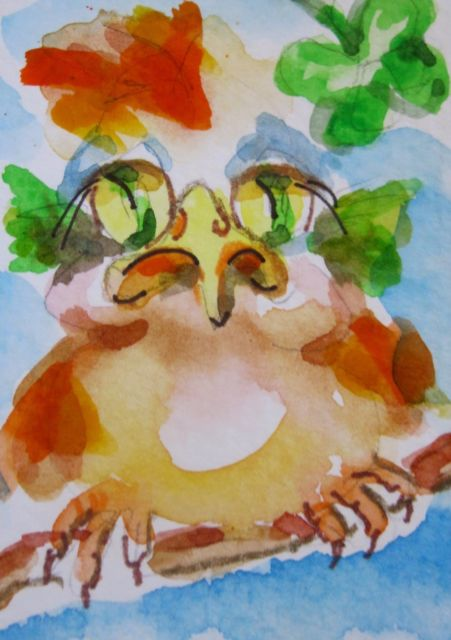 451x640 Aceo Chubby Irish Bird Original Fantasy Art Watercolor Painting