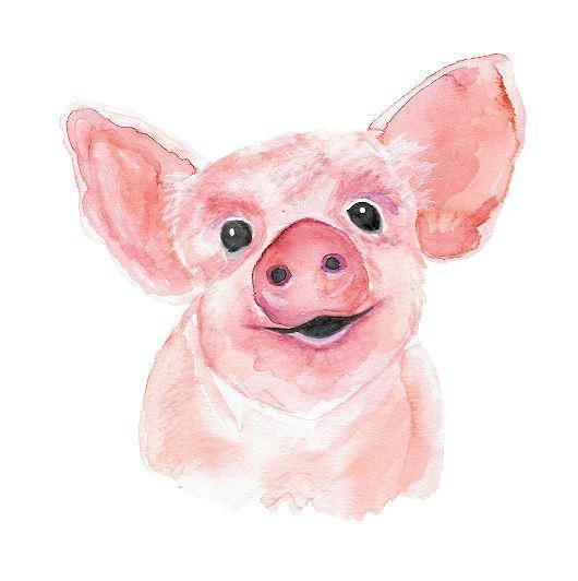 530x532 Watercolor Pig, Watercolor, Farm Animal, Watercolor Art Print