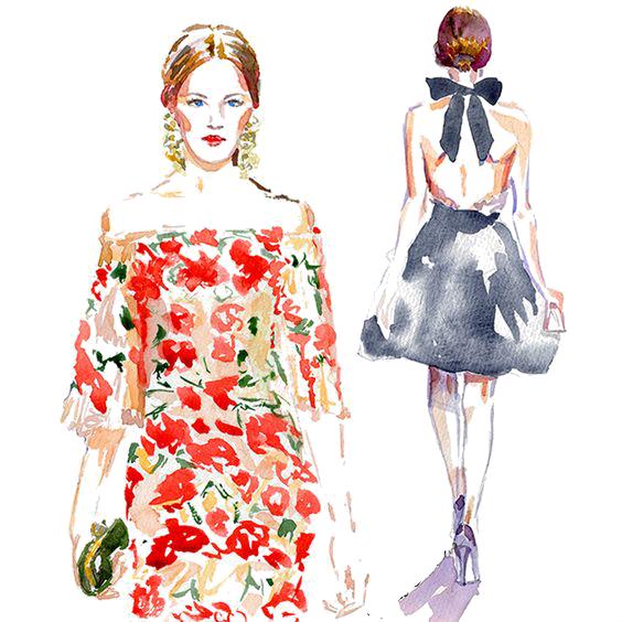 564x564 Fashion Illustration Watercolor Painting Drawing Illustration