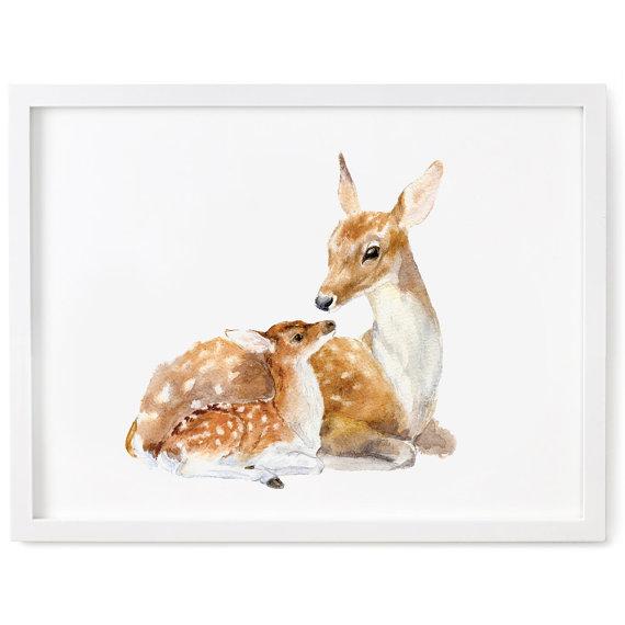 570x570 Deer Watercolor Print, Fawn Print, Deer And Fawn Art, Deer Wall