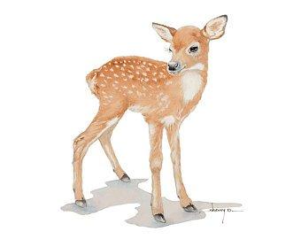 340x270 A3 Fawn Watercolour Print Fawn Watercolor Nursery Print Deer Etsy
