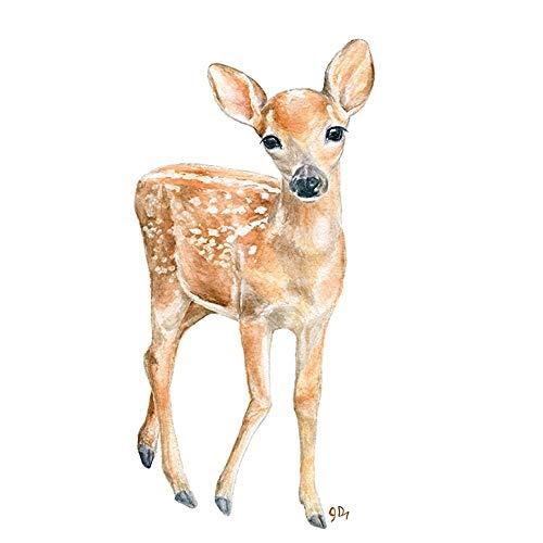 500x500 Deer Nursery Art Print, Baby Deer Wall Art, Childrens